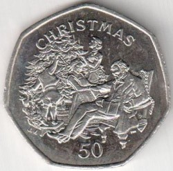 Moneta > 50pence, 1999 - Isola di Man  (Natale) - reverse