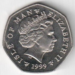Moneta > 50 pence, 1999 - Isola di Man  (Tourist Trophy Motorcycle Races /one motorcyclist/) - obverse
