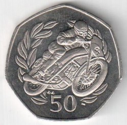 Moneta > 50 pence, 1999 - Isola di Man  (Tourist Trophy Motorcycle Races /one motorcyclist/) - reverse