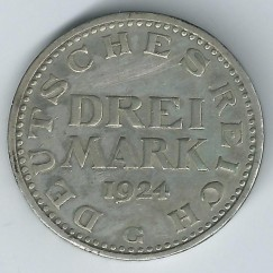 Moneta > 3markės, 1924-1925 - Vokietija  - obverse