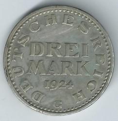 Moneta > 3markės, 1924-1925 - Vokietija  - reverse
