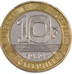 Moneda > 10francs, 1989 - França  (300è aniversari - Naixement de Charles-Louis de Montesquieu) - reverse
