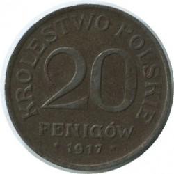 Monedă > 20fenigi, 1917-1918 - Polonia  - reverse