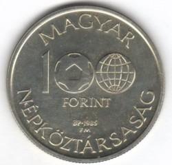 Moneta > 100fiorini, 1985 - Ungheria  (FIFA World Cup 1986 - Map of Mexico) - obverse