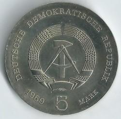 Moneda > 5marcos, 1969 - Alemania - RDA  (75º Aniversario - Muerte de Heinrich Hertz) - obverse