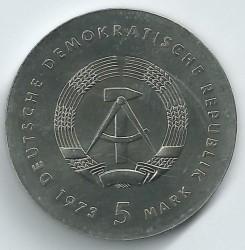 Moneda > 5marcos, 1973 - Alemania - RDA  (125º Aniversario - Nacimiento de Otto Lilienthal) - obverse