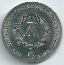 Moneda > 5marcos, 1975 - Alemania - RDA  (100º Aniversario - Nacimiento de Thomas Mann) - obverse