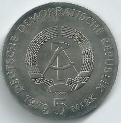 Moneda > 5marcos, 1979 - Alemania - RDA  (100º Aniversario - Nacimiento de Albert Einstein) - obverse