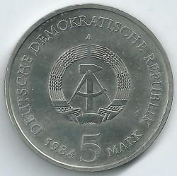 Moneda > 5marcos, 1984 - Alemania - RDA  (Antiguo Ayuntamiento de Leipzig) - obverse