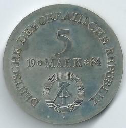 Moneda > 5marcos, 1984 - Alemania - RDA  (150º Aniversario - Muerte de Ludwig Adolf Wilhelm von Lützow) - obverse