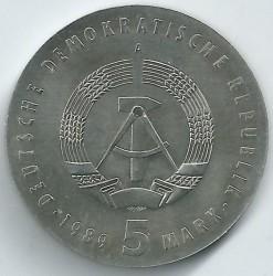 Moneda > 5marcos, 1989 - Alemania - RDA  (100º Aniversario - Nacimiento de Carl von Ossietzky) - obverse