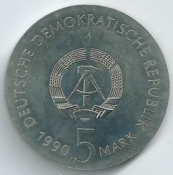 Moneda > 5marcos, 1990 - Alemania - RDA  (100º Aniversario - Nacimiento de Kurt Tucholsky) - obverse