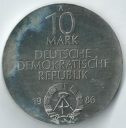 Moneda > 10marcos, 1986 - Alemania - RDA  (275º Aniversario - Caridad de Berlín) - obverse