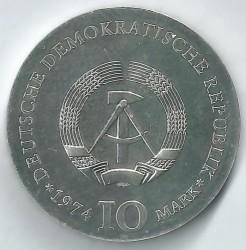 Moneda > 10marcos, 1974 - Alemania - RDA  (200º Aniversario - Nacimiento de Caspar David Friedrich) - obverse