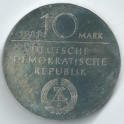 Moneda > 10marcos, 1981 - Alemania - RDA  (150º Aniversario - Muerte de Georg Wilhelm Friedrich Hegel) - reverse