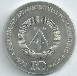 Moneda > 10marcos, 1972 - Alemania - RDA  (175º Aniversario - Nacimiento de Heinrich Heine) - obverse