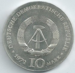 Moneda > 10marcos, 1972 - Alemania - RDA  (175º Aniversario - Nacimiento de Heinrich Heine) - reverse