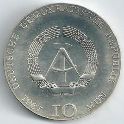 Moneda > 10marcos, 1967 - Alemania - RDA  (100 Aniversario - Nacimiento de Käthe Kollwitz) - obverse
