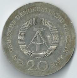 Moneda > 20marcos, 1972 - Alemania - RDA  (500º Aniversario - Nacimiento de Lucas Cranach el Viejo) - obverse