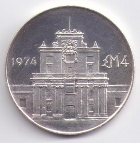 4 Lira 1974 Cottonera Gate Malta Münzen Wert Ucoinnet