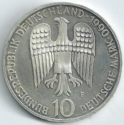 Coin > 10 mark, 1990 - Germany  (800th Anniversary - Death of Frederick I Barbarossa) - reverse