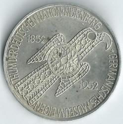 Moneda > 5marcos, 1952 - Alemania  (100 aniversario del Museo Nacional Germano en Nuremberg) - reverse