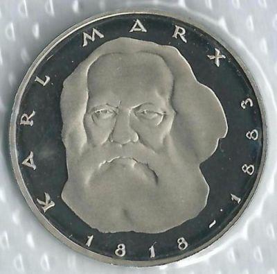 5 marcos 1983 - 200 Aniversario - nacimiento de Karl Marx, Alemania - Valor  de moneda - uCoin.net