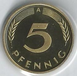 Münze > 5Pfennig, 2001 - Deutschland  - reverse