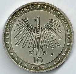 Moeda > 10euro, 2003 - Alemanha  (Bicentenário do Nascimento do Arquitecto Gottfried Semper) - obverse