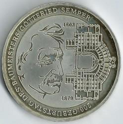 Moeda > 10euro, 2003 - Alemanha  (Bicentenário do Nascimento do Arquitecto Gottfried Semper) - reverse