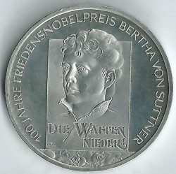 Moeda > 10euro, 2005 - Alemanha  (Centenário da Atribuição do Nobel da Paz a Bertha von Suttner) - obverse