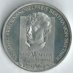 Moeda > 10euro, 2005 - Alemanha  (Centenário da Atribuição do Nobel da Paz a Bertha von Suttner) - reverse