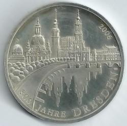 Moeda > 10euro, 2006 - Alemanha  (800 Anos da Fundação da Cidade de Dresden) - reverse