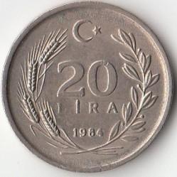 Coin > 20lira, 1984-1989 - Turkey  - reverse