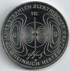 Moeda > 10euro, 2013 - Alemanha  (125 Anos da Demonstração da Existência de Radiação Electromagnética por Heinrich Hertz) - obverse