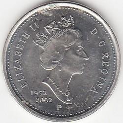Монета > 5цента, 2002 - Канада  (50th Anniversary - Succession of Queen Elizabeth II) - obverse
