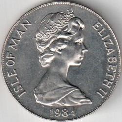 Coin > 1crown, 1984 - Isle of Man  (XXIII summer Olympic Games, Los Angeles 1984. Runner) - obverse