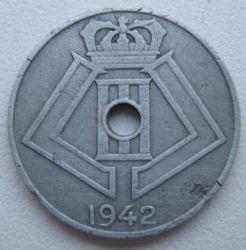 "Minca > 5centimes, 1941-1942 - Belgicko  (Nadpis - ""BELGIE-BELGIQUE"") - obverse"