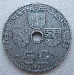"""Minca > 5centimes, 1941-1942 - Belgicko  (Nadpis - """"BELGIE-BELGIQUE"""") - reverse"""