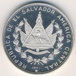Moneta > 5colones, 1971 - El Salvador  (150° anniversario dell'indipendenza) - obverse