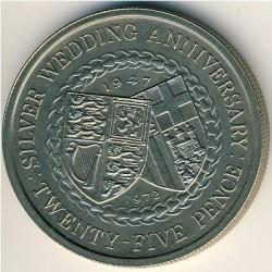Moneta > 25pence, 1972 - Isola di Man  (25° Anniversario - Matrimonio della Regina Elisabetta II e del Principe Filippo) - reverse