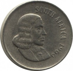 "Coin > 10 cents, 1965-1969 - South Africa  (Legend in English - ""SOUTH AFRICA"") - obverse"