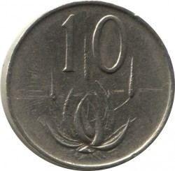 "Coin > 10 cents, 1965-1969 - South Africa  (Legend in English - ""SOUTH AFRICA"") - reverse"