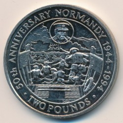 Münze > 2 Pfund, 1994 - Guernsey  (50th Anniversary - Normandy Landings) - reverse