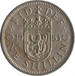 Moneda > 1chelín, 1953 - Reino Unido  (Escudo de Escocia: León rampante mirando hacia la izquierda en un escudo coronado) - reverse
