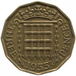 Moeda > 3pence, 1954-1970 - Reino Unido  - obverse