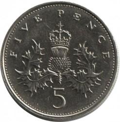 Mynt > 5pence, 1985-1990 - Storbritannia  - reverse
