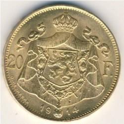 Moeda > 20francos, 1914 - Bélgica  (Legend in French - 'ALBERT ROI DES BELGES') - reverse