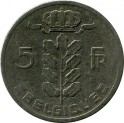 Coin > 5 francs, 1964 - Belgium  (Legend in French - 'BELGIQUE') - obverse