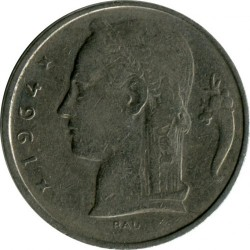 Coin > 5 francs, 1964 - Belgium  (Legend in French - 'BELGIQUE') - reverse